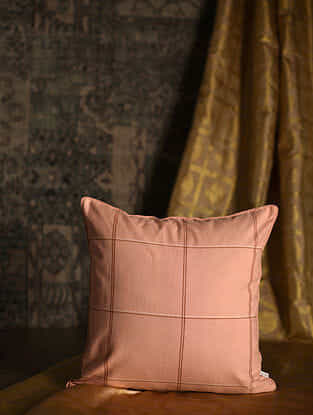 Grid Checks Peach Cotton and Silk Cushion Cover (18in x 18in)