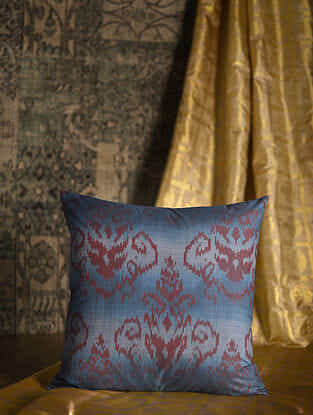 Arabesque Blue Cotton and Silk Cushion Cover with Tassels (20in x 20in)