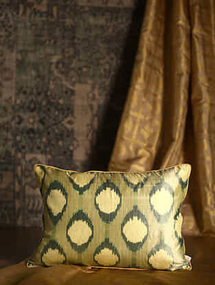 Polka Green Silk Cushion Cover (20in x 14in)