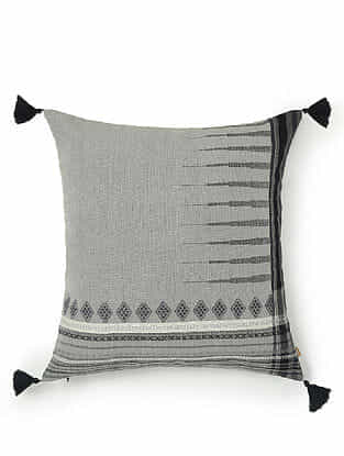 Grey and Black Cotton Handwoven Cushion Cover (18in x 18in)