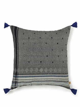 Grey and Blue Cotton Handwoven Cushion Cover (18in x 18in)
