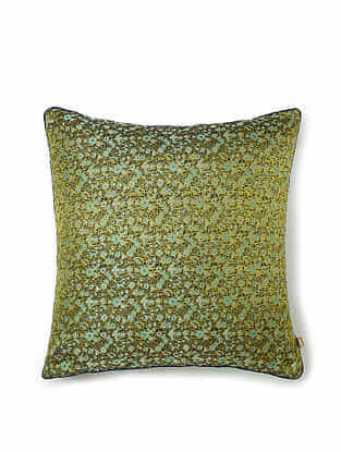 Green-Multicolor Silk Handwoven Cushion Cover (16in x 15.5in)