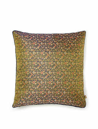 Green-Multicolor Silk Handwoven Cushion Cover (16in x 16in)