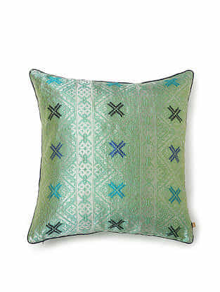 Green-Multicolor Silk Handwoven Cushion Cover (18in x 18in)