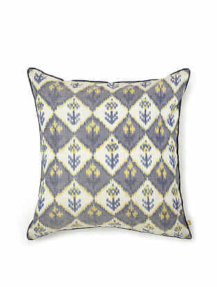 Blue-Multicolor Cotton and Silk Handwoven Cushion Cover (18in x 18in)