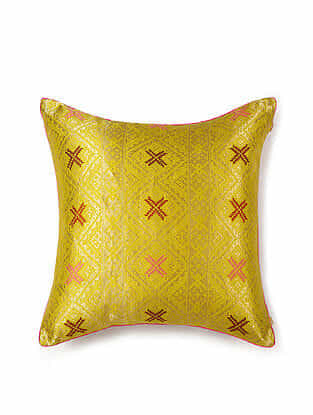Yellow and Pink Silk Handwoven Cushion Cover (18in x 18in)
