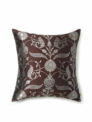 Brown and Off-White Silk and Zari Handwoven Cushion Cover (18in x 18in)
