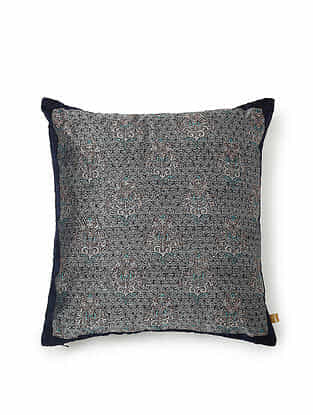 Blue-Multicolor Silk Handwoven Cushion Cover (18in x 18in)