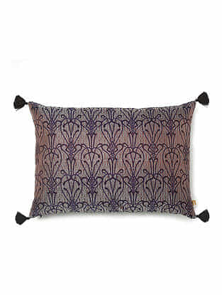 Brown and Purple Silk Handwoven Cushion Cover (20in x 14in)