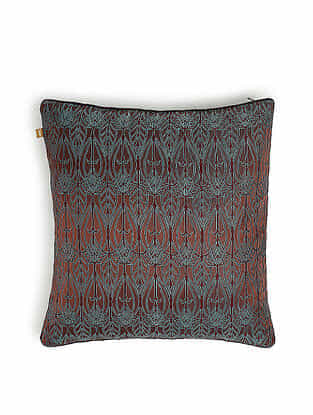 Brown and Grey Silk Handwoven Cushion Cover (16in x 16in)