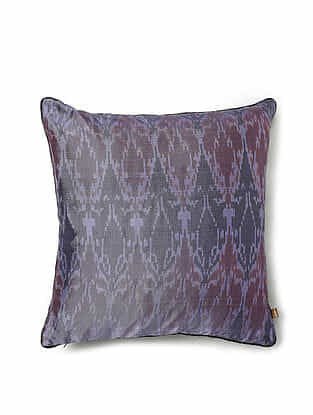Purple and Black Silk Handwoven Cushion Cover (16in x 16in)