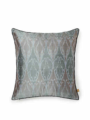 Grey and Green Silk Handwoven Cushion Cover (16in x 16in)