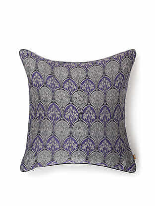 Purple and Grey Silk Handwoven Cushion Cover (16in x 16in)