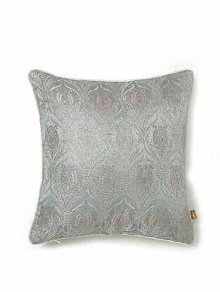 Grey and Off-White Silk and Viscose Handwoven Cushion Cover (12in x 12in)