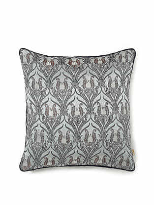Grey and Orange Silk and Viscose Handwoven Cushion Cover (12in x 12in)