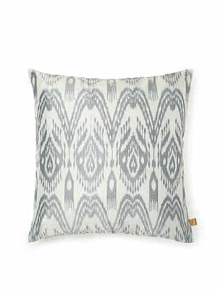 White and Grey Silk Handwoven Cushion Cover (16in x 16in)