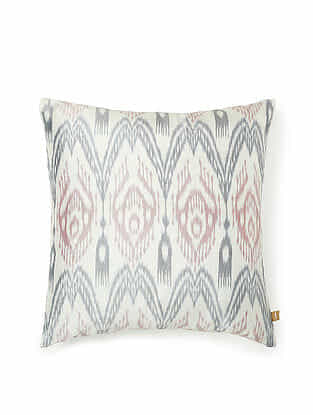 Off-White-Multicolor Silk Handwoven Cushion Cover (16in x 16in)
