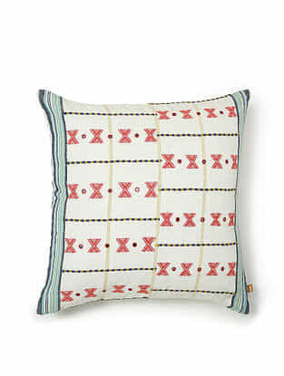White-Multicolor Cotton Handwoven Cushion Cover (18in x 18in)