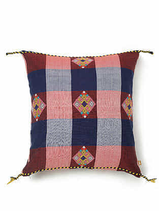 Blue and Red Cotton Handwoven Cushion Cover (18in x 18in)