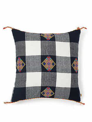 Blue-Multicolor Cotton Handwoven Cushion Cover (18in x 18in)