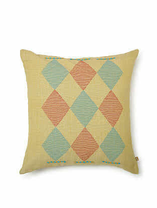 Yellow-Multicolor Cotton Handwoven Cushion Cover (18in x 18in)