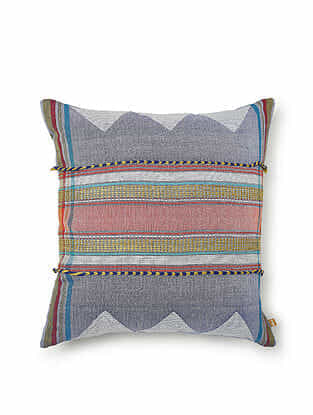 Blue-Multicolor Cotton and Geetcha Silk Handwoven Cushion Cover (18in x 18in)