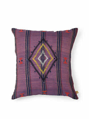 Purple Cotton Handwoven Cushion Cover (18in x 18in)