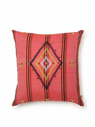 Pink-Multicolor Cotton Handwoven Cushion Cover (18in x 18in)