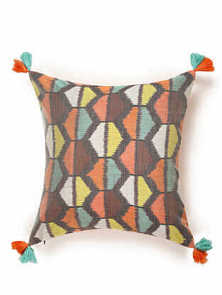 Grey-Multicolor Cotton and Silk Handwoven Cushion Cover (18in x 18in)