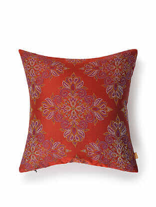 Rust-Multicolor Silk Handwoven Cushion Cover (12in x 12in)