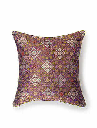 Purple Silk and Zari Handwoven Cushion Cover (18in x 18in)