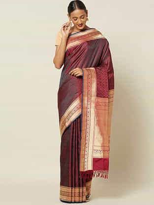 Purple Benarasi Tanchoi Silk Saree
