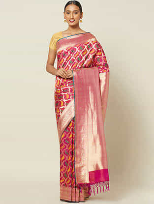 Pink Cut Work Silk Saree with Zari