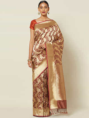 Brown Benarasi Kadwa Silk Saree with Zari