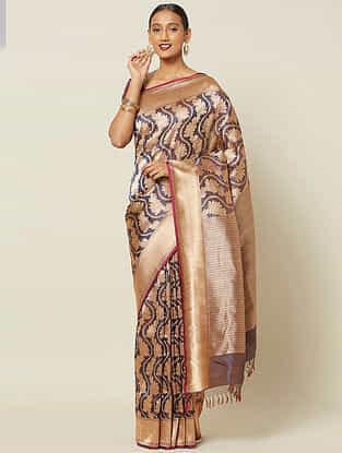 Golden Benarasi Kadwa Silk Saree with Zari