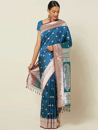 Blue Benarasi Kadwa Silk Saree with Zari