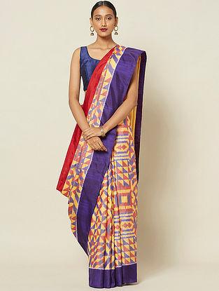 Yellow-Purple Handwoven Ikat Silk Saree