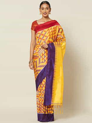 Yellow-Red Handwoven Ikat Silk Saree