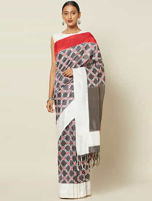 Charcoal-Ivory Handwoven Double Ikat Silk Saree
