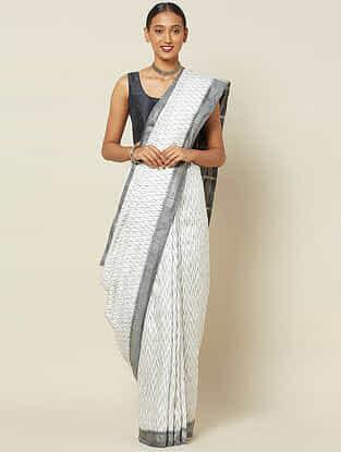Ivory-Grey Handwoven Ikat Silk Saree with Zari