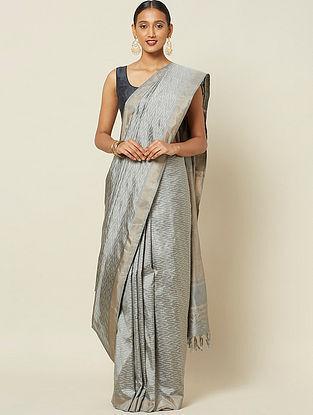Silver Handwoven Ikat Silk Saree with Zari