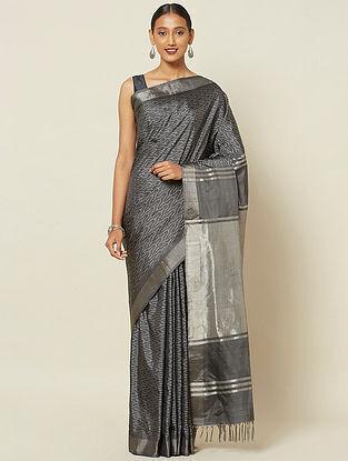 Black Handwoven Ikat Silk Saree