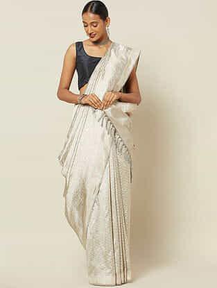 Ivory Handwoven Ikat Silk Saree