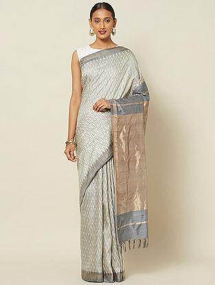 Grey Handwoven Ikat Silk Saree