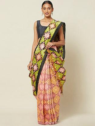 Pink-Yellow Handwoven Double Ikat Silk Saree