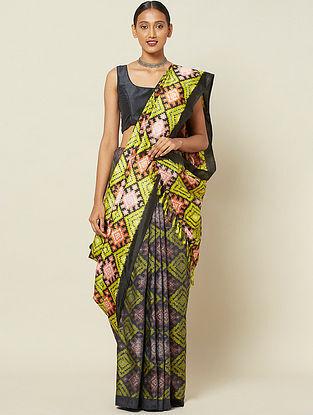 Yellow-Black Handwoven Double Ikat Silk Saree