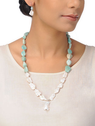 Amazonite and Pearl Beaded Silver Necklace with a Pair of Earrings (Set of 2)