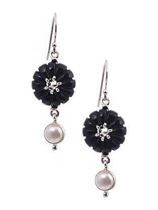 Silver Earrings with Onyx and Pearls