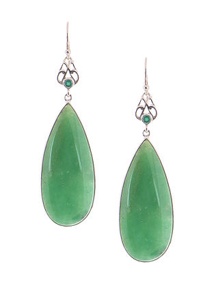 Chrysoprase and Green Onyx Silver Earrings
