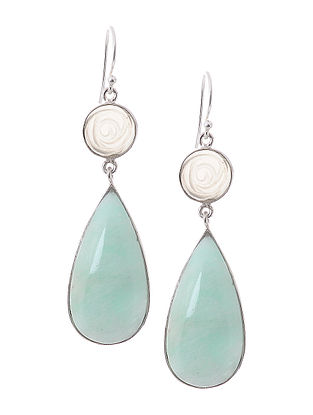 Amazonite and Agate Silver Earrings